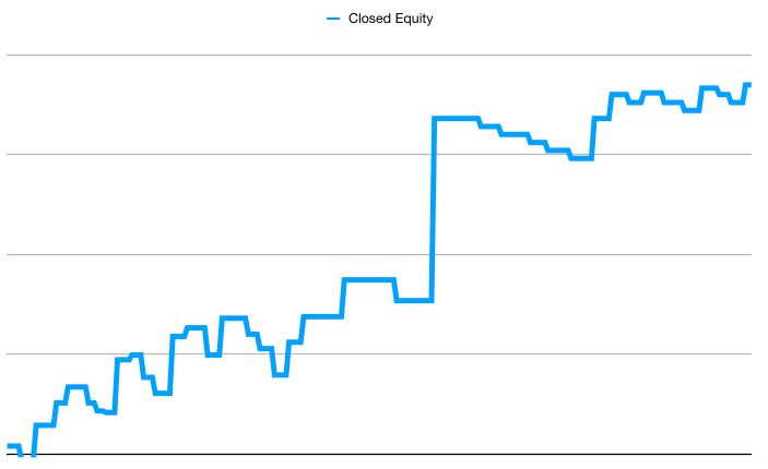 Equity curve without open profits or losses.